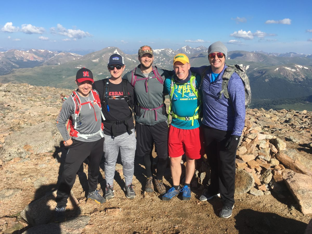 Jake and his friends on the top of Mt. Bierstadt