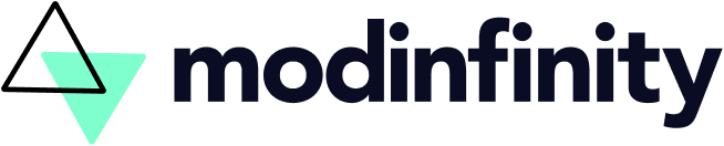 Logo for Modinfinity LLC, it shows a wordmark of the company name, Modinfinity, and two triangles to the left of it overlapping. The bottom triangle is a bright teal while the triangle on top is transparent with a thick black outline.